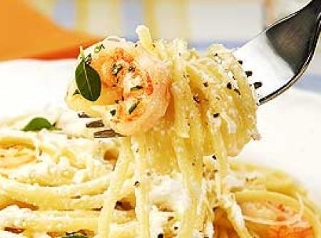 Espaguete Com Ricota e Camarão | albertina maria mattos