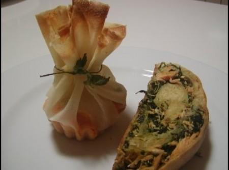 Strudel de salmao com papilotes de cenoura e cogumelos