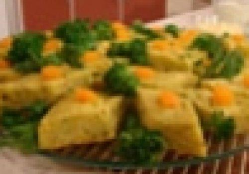 Torta com casca de abóbora e talos
