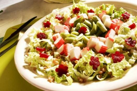 Salada de Kani, Trigo e Legumes