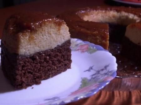Bolo-Pudim de Chocolate e Laranja