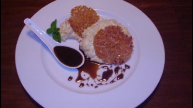 Arroz integral doce com pinhão e crocante de canela