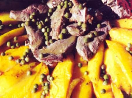 Peito de Pato com manga em molho de pimenta verde
