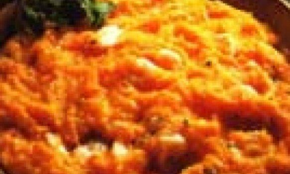 Creme de jerimum e camarão