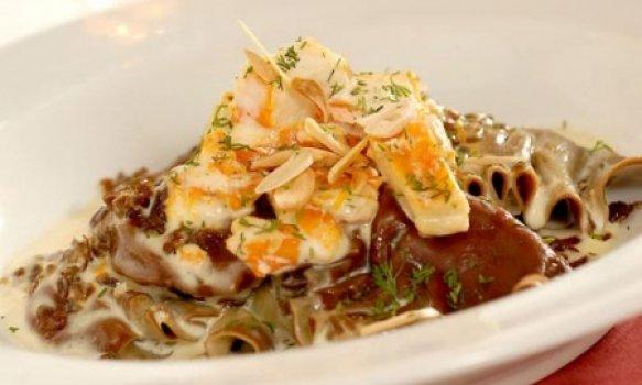 Varenickes de batata doce com haddock