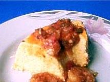 Mousse de Milho com Molho de Camarões