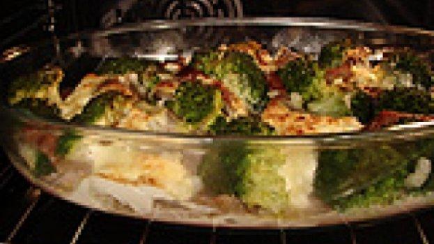 Carne Assada com Creme de Leite e Brócolis