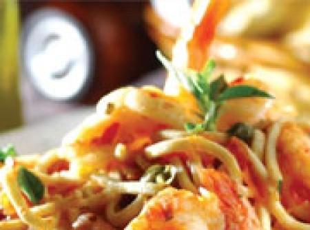 Spaguetti alle Gamberi e Pancetta