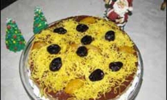 torta de mousse de ameixa preta e damasco
