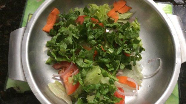 Salada de Alface, Alface Roxa, Agrião e Almeirão
