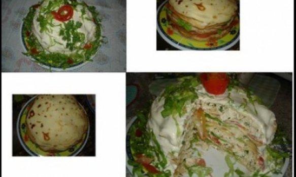 Salada de Panqueca com Frango