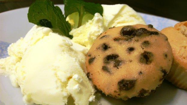 Mini Muffins de Uva com Sorvete de Creme