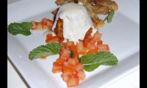 Tortinha de cenoura com hortelã à milanesa
