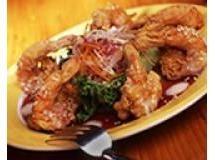 Camarão com repolho roxo e gengibre