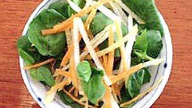 Salada de Agrião, Pêra e Molho Asiático
