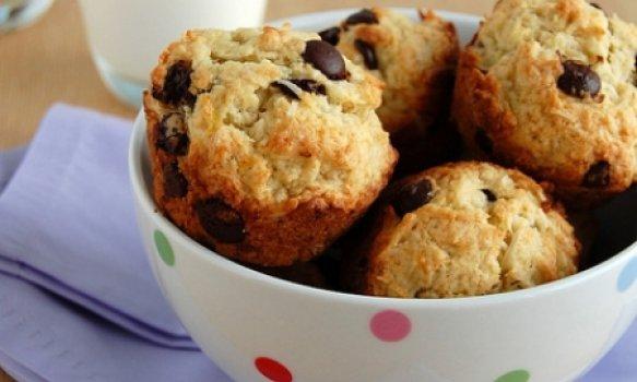 Muffins de Banana, Coco e Chocolate