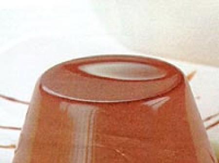 Flan de chocolate com calda de chocolate