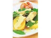 Salada de bacalhau, batata e rúcula