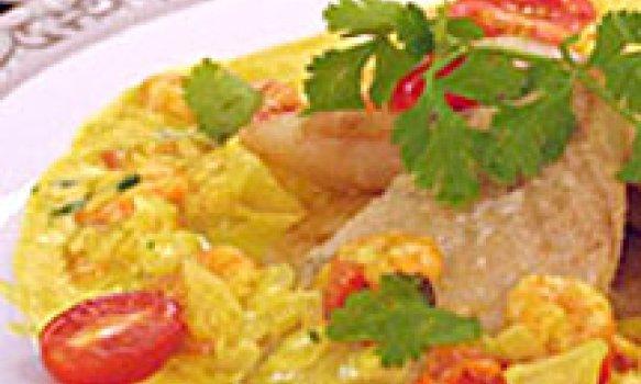Filé de Peixe com Curry e Camarão