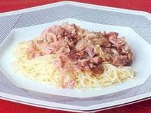 Macarrão com Bacon e Presunto