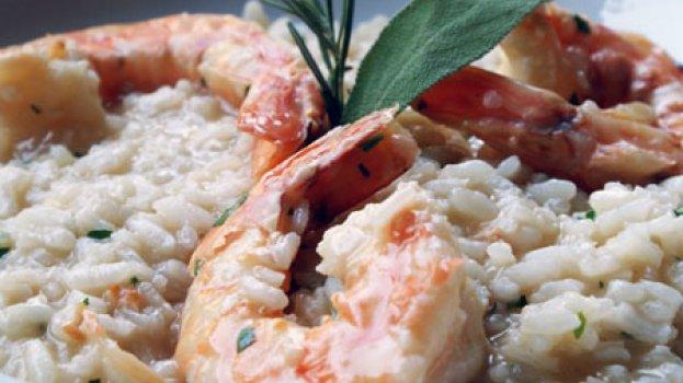 Risoto de camarão com grana padano