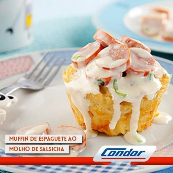 Muffin Espaguete ao Hot Dog
