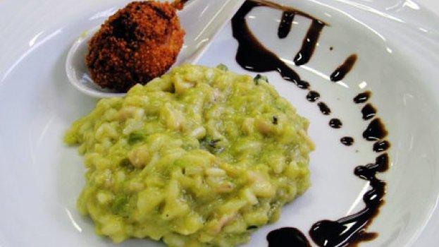 Risoto de alho-poró com Foie Gras Empanado