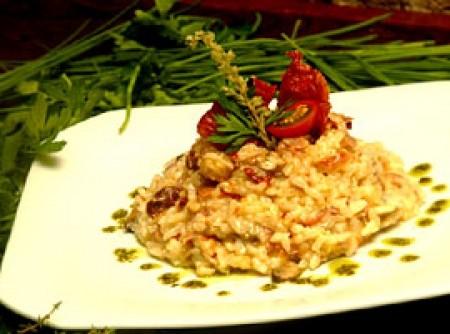 Risoto de presunto de parma com champignons e tomate seco