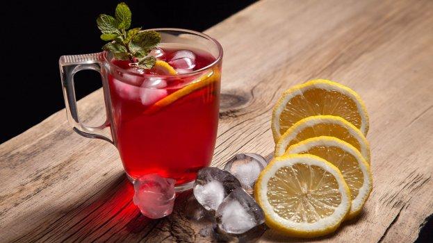 suco de laranja com chá de hibisco/cybercook