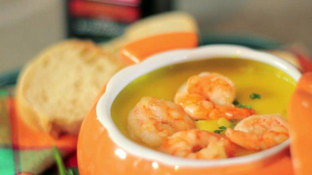Sopa de Mandioquinha com Camarão e Azeite de Oliva
