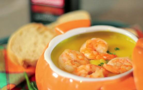 Sopa de Mandioquinha com Camarão e Azeite de Oliva | CyberCook