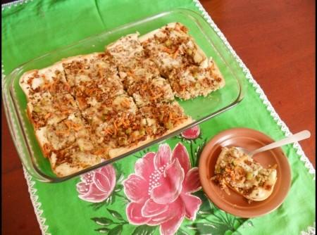 Torta de Legumes com Carne Moída De Biomassa de Banana Verde