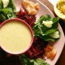 Salada de Rúcula, Salmão e Beterraba ao Molho de Maracujá