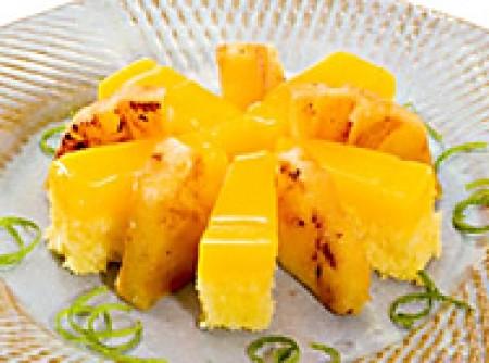 Quindim com Abacaxi Grelhado e Raspas de Limão