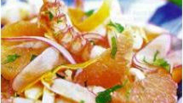 Salada de camarão no vapor