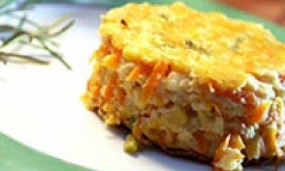 Torta de Milho Verde, Cenoura e Agrião ligth