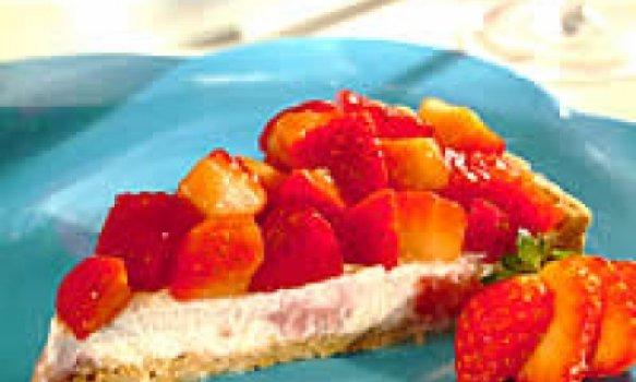 Torta light de ricota e morango