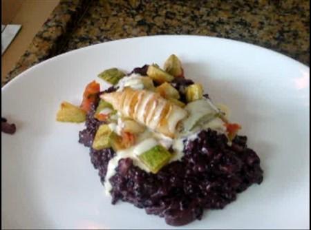 Risoto de lula com arroz negro