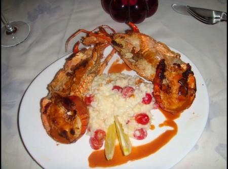 Lagosta com risoto de limao siciliano