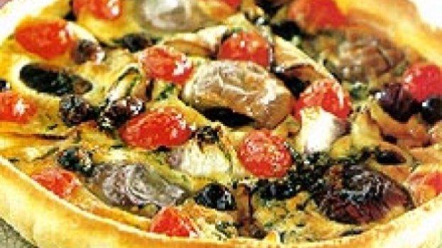 Quiche de Berinjela e Tomate Cereja