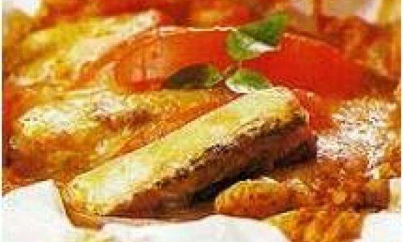 pescada com tiras de beringela