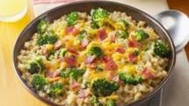 Quinoa com Queijo, Brócolis e Bacon