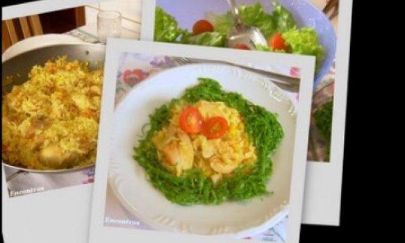 arroz com frango e açafrão