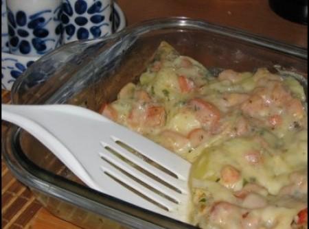 salada com batata e queijo ao forno