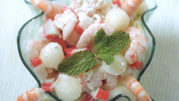 Salada de Kani, Camarão e Melão.