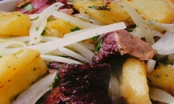 Carne -seca com mandioca