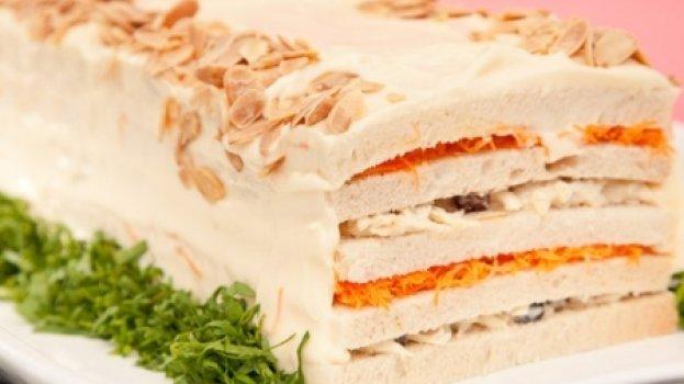 Torta Fria de Frango Defumado e Cream Cheese