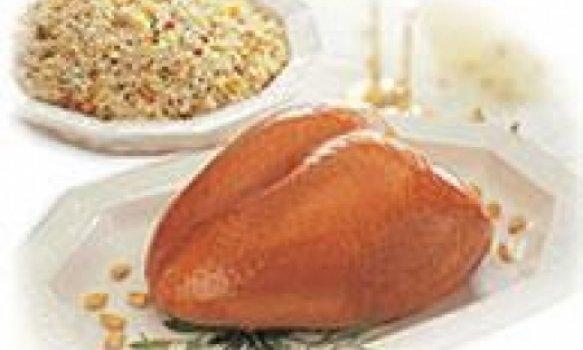 Peito de peru com arroz crocante