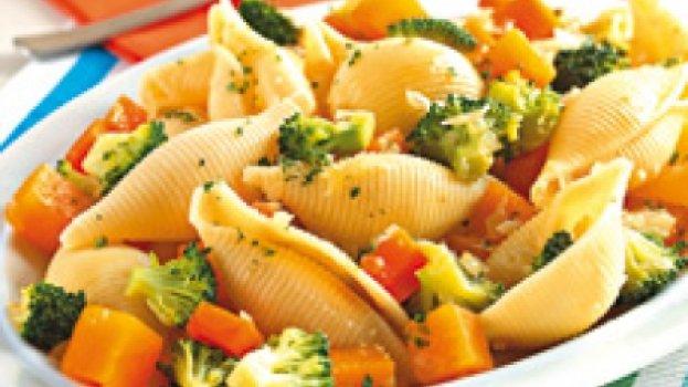 Conchiglione com abóbora e brócolis