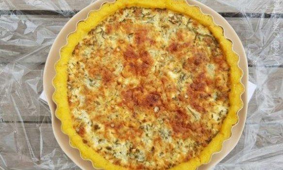 Torta de Alcachofra com Massa de Polenta